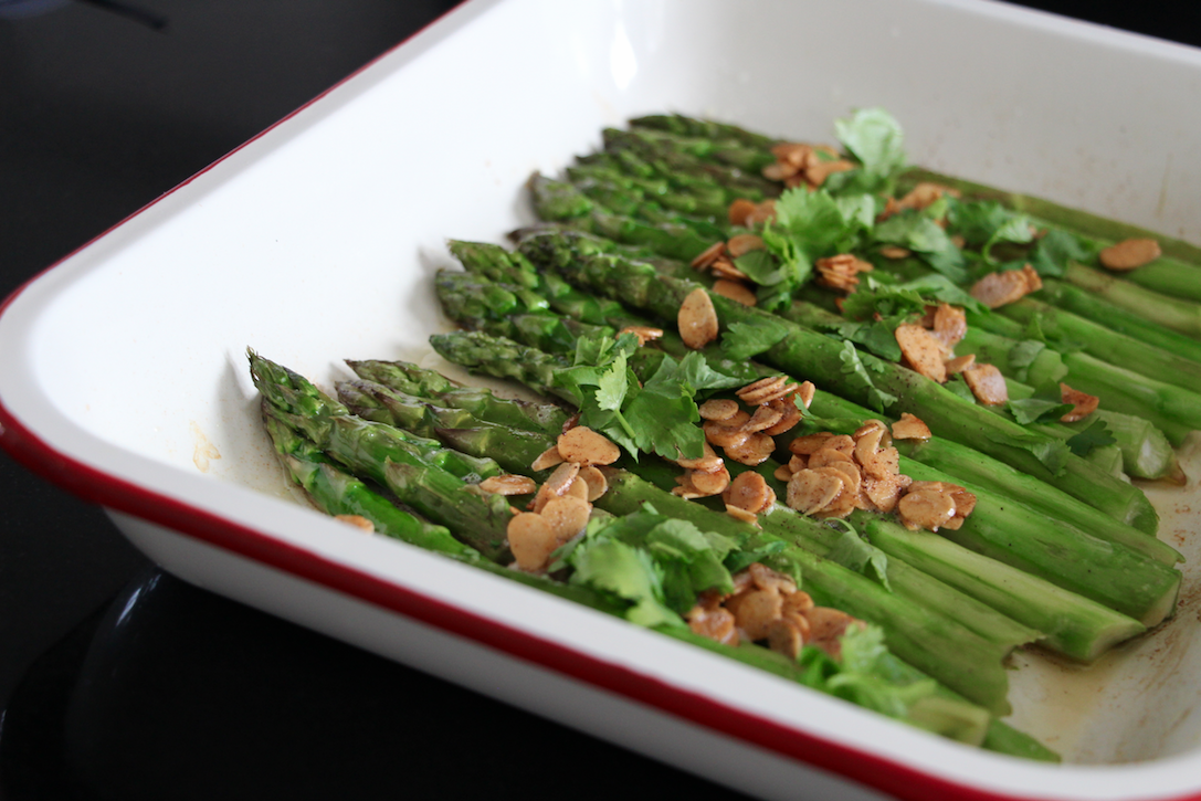 Roasted Green Asparagus With Almonds And Coriander Casserole Chocolat